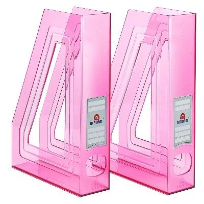 Organizador de revistas color rosa de plástico